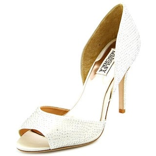 Badgley Mischka Mitzi Peep-Toe Canvas Heels