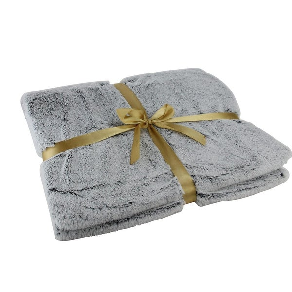 "Light Gray Faux Fur Throw Blanket 55"" x 62"""