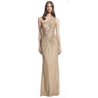 David Meister One Shoulder Beaded Metallic Evening Gown Dress