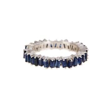 Genuine Blue Sapphire Baguette Ring