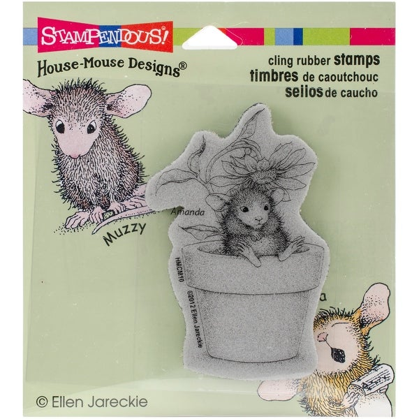 "Stampendous House Mouse Cling Stamp 3.5""X4""-Potted Mouse"