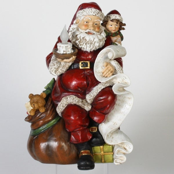 "12"" LED Lighted Antiqued Santa Claus & Girl with Frosted Candle Christmas Figure - RED"