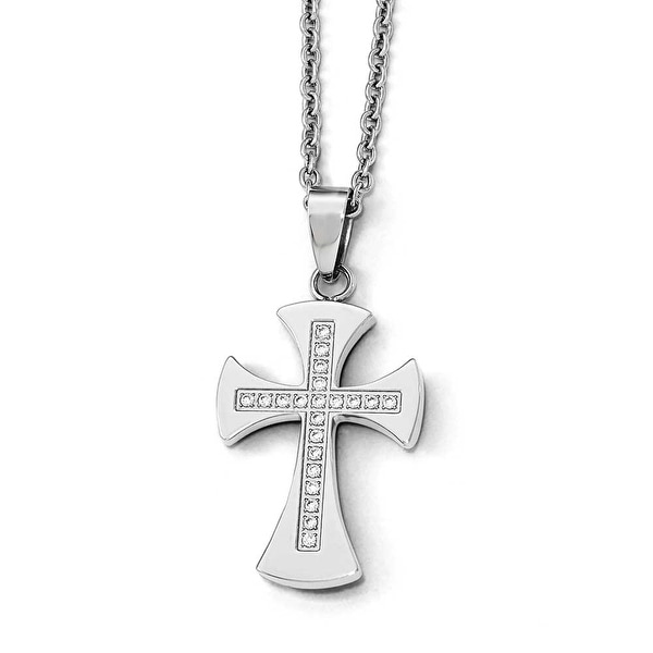 Chisel Stainless Steel Polished with CZ Cross 20.5 inch  Necklace - 20.5 in