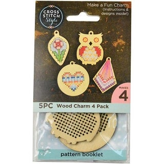 4/Pkg - Cross Stitch Style Wood Shapes Punched For Cross Stitch