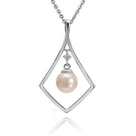 "Diamond Shaped Pearl Necklace Sterling Silver Pendant 18"" Chain"