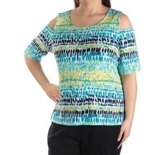 KASPER $52 Womens 1268 Blue Geometric Cold Shoulder Top 3X Plus B+B
