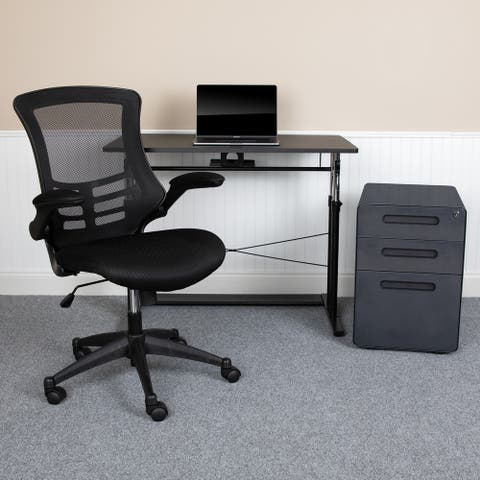 Office Set-Adjustable Computer Desk, Ergonomic Mesh Office Chair, Filing Cabinet