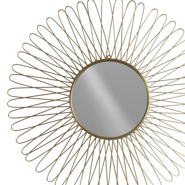 Metal Round Wall Mirror With Petal Designed Frame Set Of 2 Gold Overstock 31570826