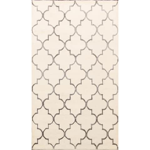 "Wool/ Silk Hand-tufted Trellis Oriental Area Rug Modern Carpet - 5'0"" x 8'0"""
