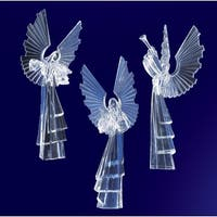 "Pack of 6 Icy Crystal Religious Instrument Playing Angel Figurines 16.8"" - CLEAR"