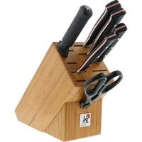 Miyabi Red Morimoto Edition 7-pc Knife Block Set - black w/red accent/stainless steel