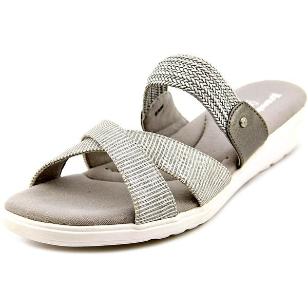 Grasshoppers Finley Women Open Toe Canvas Silver Slides Sandal
