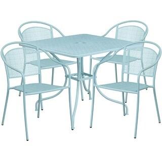 Westbury 5pcs Square 35.5u0027u0027 Sky Blue Steel Table W/4 Round Back Chairs