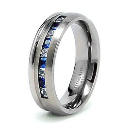 Titanium Blue Saphire And White CZ Ring