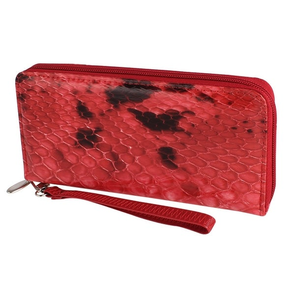 Unique Bargains Lady Snake Pattern Zippered Red Black Faux Leather Handbag Purse w Strap