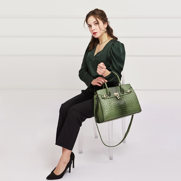 Dasein Faux Leather Padlock Deco Detailed Satchel with Matching Wristlet. Opens flyout.