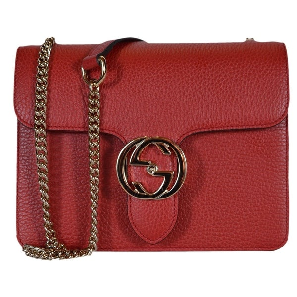 f563bf437ed71 Gucci Women  x27 s Red Leather 510304 Interlocking GG Crossbody Purse  Handbag - 7.75