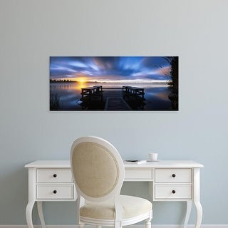Easy Art Prints Panoramic Images's 'Panoramic view of a pier at dusk, Vuoksi River, Imatra, Finland' Canvas Art