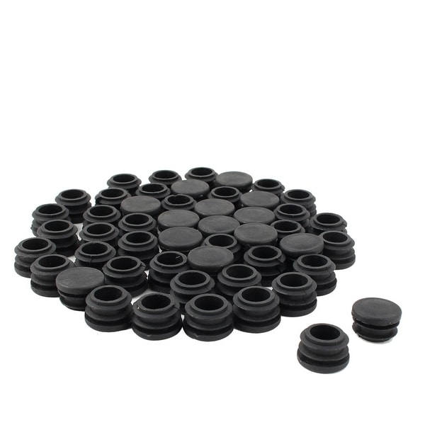 Table Chair Plastic Round Tube Pipe Insert Cover Stopper Black 22mm Dia  50pcs