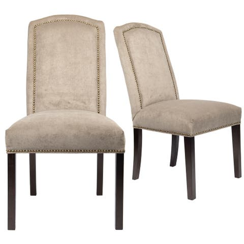 Contemporary Nailhead Upholstered Beige Dining Room Chair Set of 2