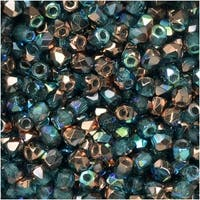 True2 Czech Fire Polished Glass, Faceted Round 2mm, 50 Pieces, Aqua Copper Rainbow
