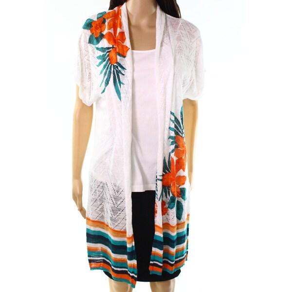 Ruby Rd. White Womens Size 1X Plus Mix-Print Cardigan Sweater