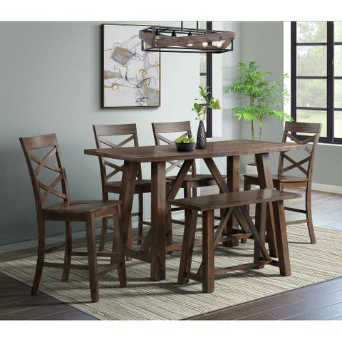 Picket House Furnishings Regan Counter Side Chair Set in Cherry