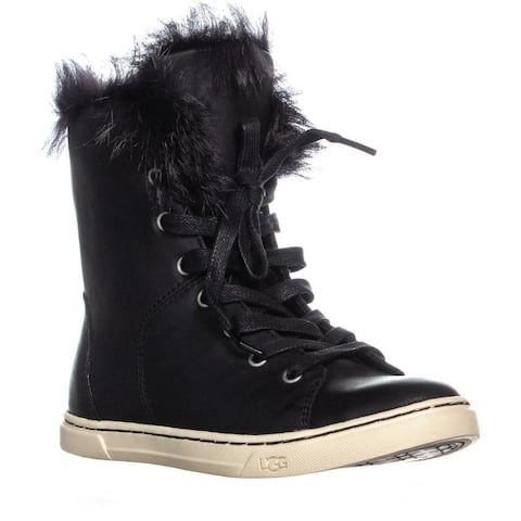 UGG Croft Sheepskin Lace Up Fashion Sneakers, Black