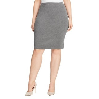 Eileen Fisher Womens Plus Straight Skirt Ribbed Pull On