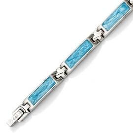 Stainless Steel Blue Enamel 7.25in Bracelet
