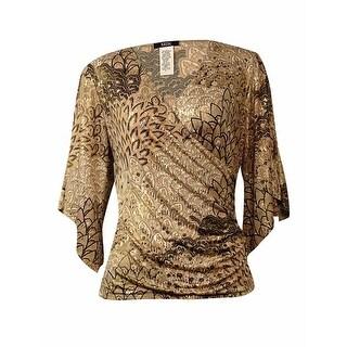 MSK Women's Sequin Printed Flutter Sleeve Jersey Blouse - m