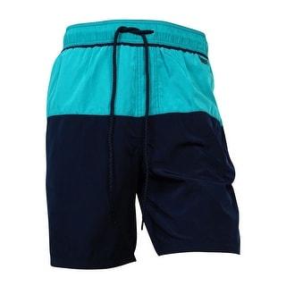 Calvin Klein Men's Two-Tone Swim Trunks (Surf Blue Multi, M) - M