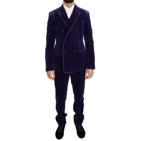 Purple Velvet Slim Fit Double Breasted Men's Suit