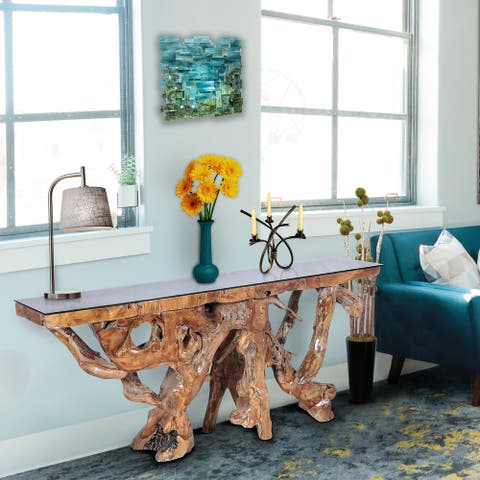 Chic Teak Rustic Teak Wood Root Console Table with Glass Top, 72 inches