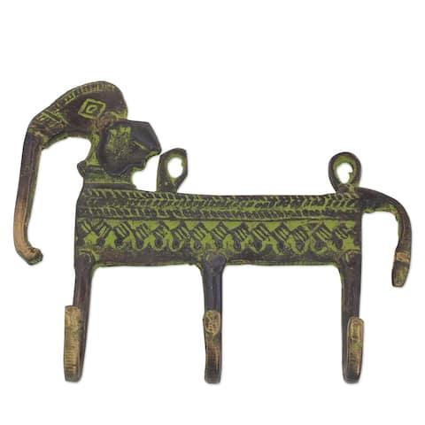 NOVICA Helpful Elephant, Brass coat rack