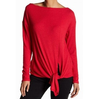 Harlowe & Graham NEW Red Women's Size Large L Tie-Front Ribbed Blouse
