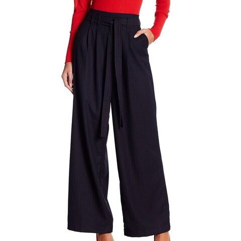 Harlowe & Graham Blue Women's XS Wide Leg Pinstriped Dress Pants