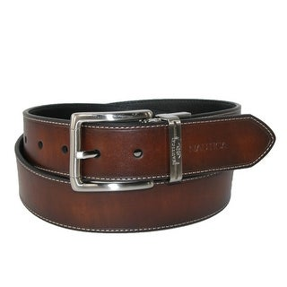 Nautica Men's Leather Reversible Belt with Heat Crease and Contrast Stitch - brown to black