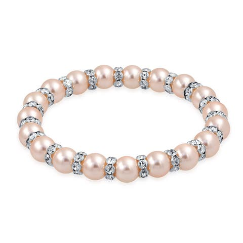 Light Pink Imitation Pearl Stackable Strand Stretch Bracelet For Women White Crystal Rondelle Spacer Silver Plated Brass