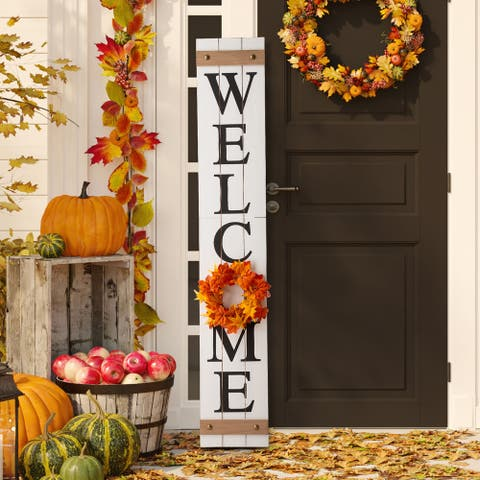 """Glitzhome 60""""H Wooden Welcome Porch Sign with 4 Changable Floral Wreaths"""