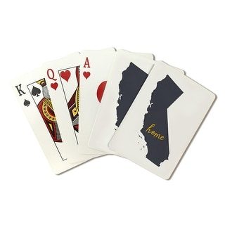CA - Home State - Gray on White - LP Artwork (Poker Playing Cards Deck)