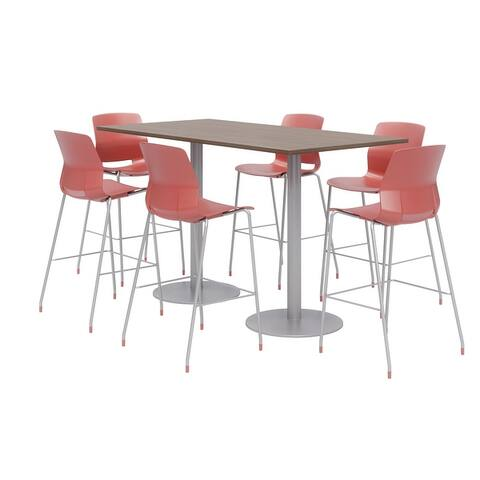 Olio Designs 6' x 3' Bistro Table Set, 6 Lola Barstools, Studio Teak
