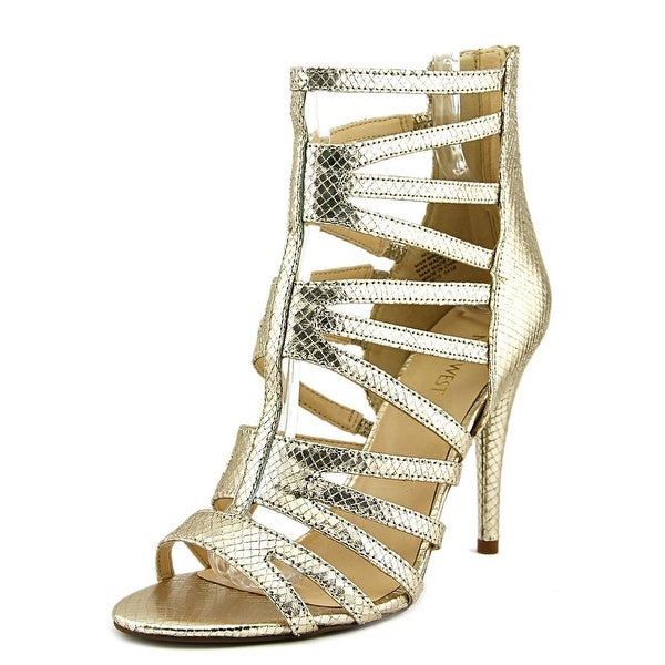 Nine West All Clearo Women Open Toe Leather Gold Gladiator Sandal