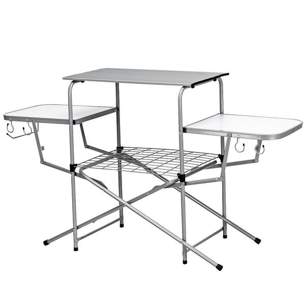 Costway Foldable Camping Table Outdoor Kitchen Portable Grilling Stand Folding BBQ Table