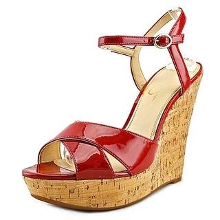 Jessica Simpson Isadoraa Women Open Toe Leather Red Wedge Sandal