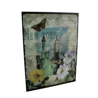 Decorative New York Statue of Liberty Floral Glass Wall Hanging - Green