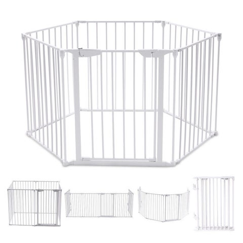 Costway 6 Panel Metal Gate Baby Pet Fence Safe Playpen Barrier Wall-mount Multifunction