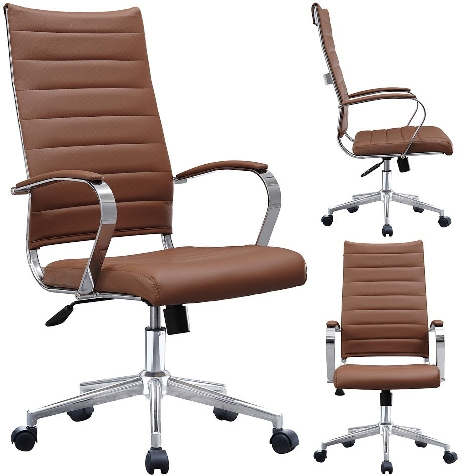 2xhome Modern Brown High Back Office Chair Ribbed Pu Leather Swivel Conference Room Computer Desk Visitor Vintage Retro Boss