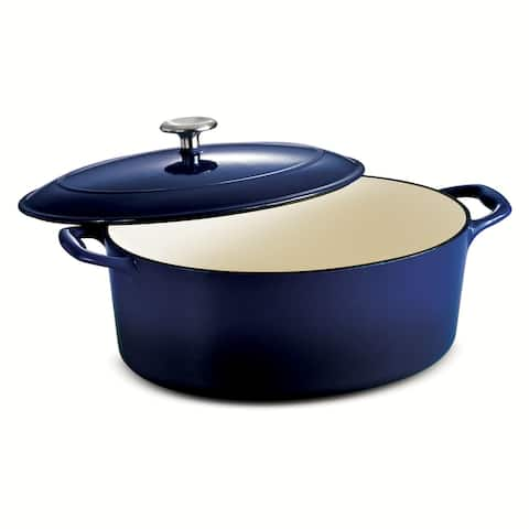 Tramontina 7 Qt Enameled Cast-Iron Series 1000 Covered Oval Dutch Oven - Gradated Cobalt