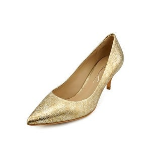 Kenneth Cole NY Mirror Me Women Pointed Toe Leather Gold Heels